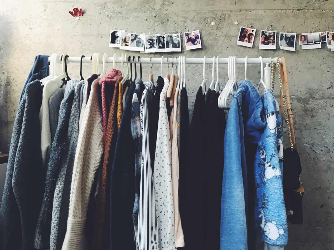 Vintage clothing on a rack