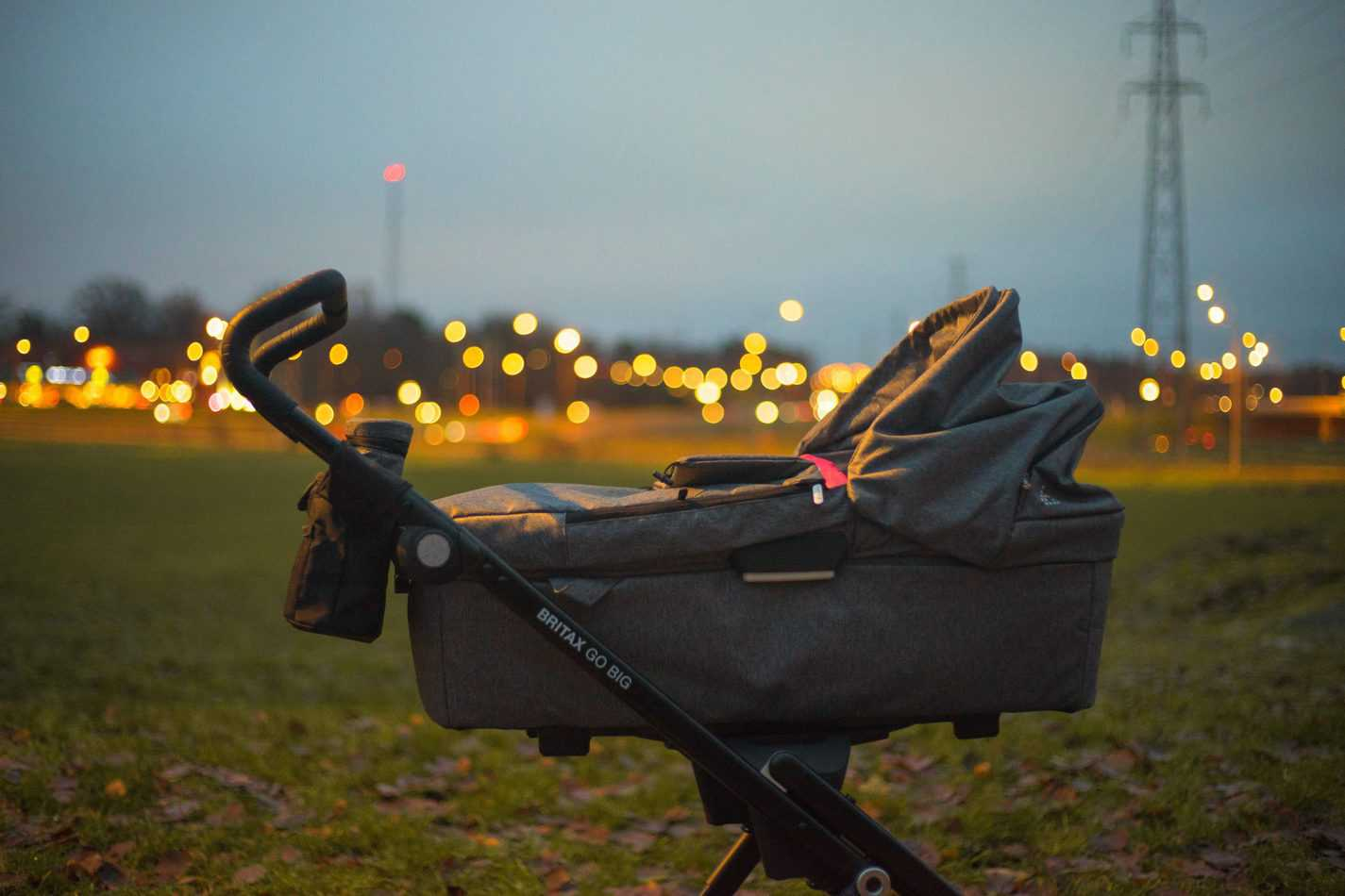 Stroller on grass field