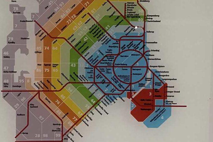 Zonemap of public transportation in Copenhagen